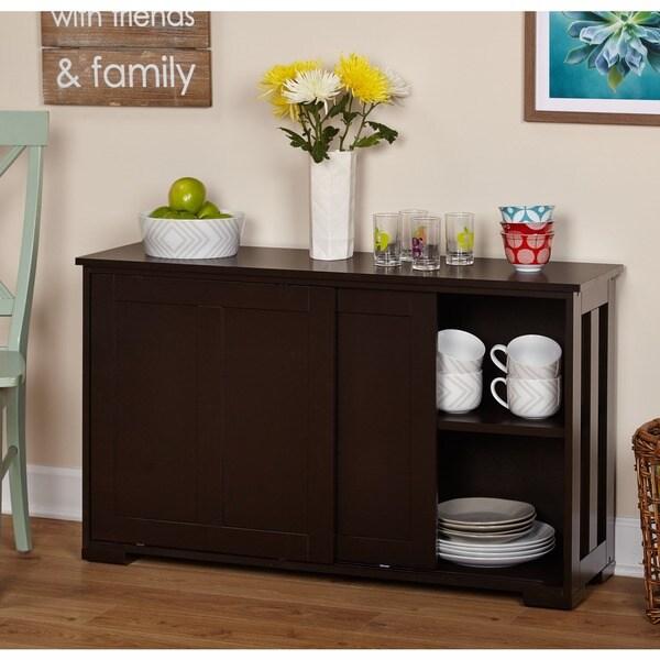 simple living espresso sliding door stackable cabinet