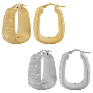 Fremada 18k Gold Over Sterling Silver Diamond-cut Electroform Rectangular Hoop Earrings