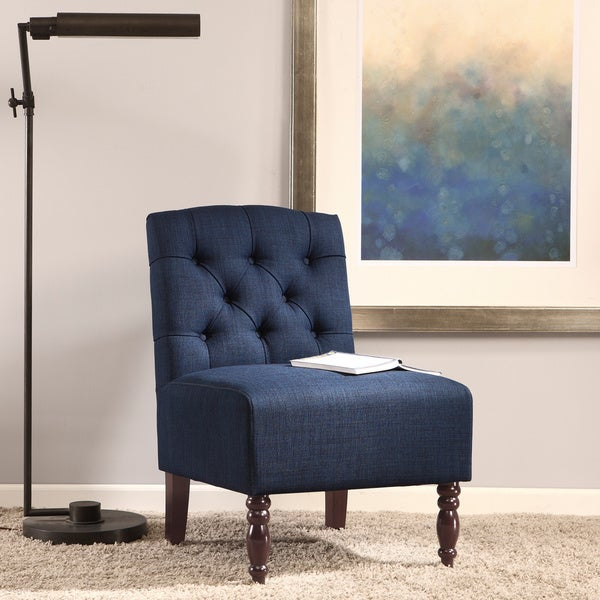 Lola Navy Tufted Armless Slipper Chair Free Shipping