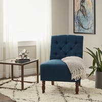 Porch & Den Lola Navy Tufted Armless Slipper Chair