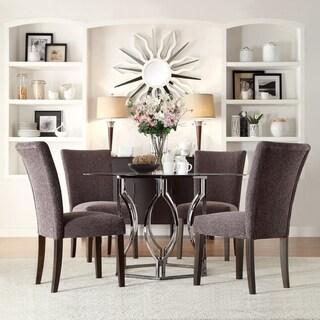 INSPIRE Q Concord 5 Piece Black Nickel Plated Dark Grey Dining Set Free Shi