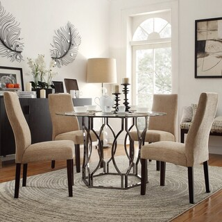 INSPIRE Q Concord 5 Piece Black Nickel Plated Mocha Dining Set Free Shippin