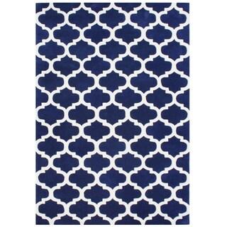 Handmade Alliyah Navy Blue New Zealand Blended Wool Rug (8' x 10')
