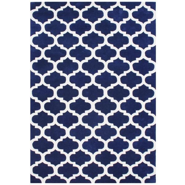 Handmade Alliyah Navy Blue New Zealand Blended Wool Rug - 5' x 8'