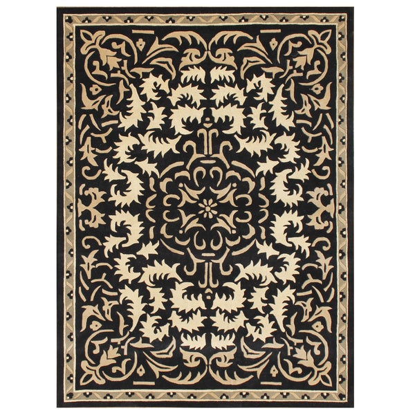 Alliyah Handmade Black New Zealand Blend Wool Rug (9' X 12