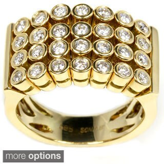 Sonia Bitton 14k Gold Four-row Pave 4/5ct TDW Diamond Flex Ring