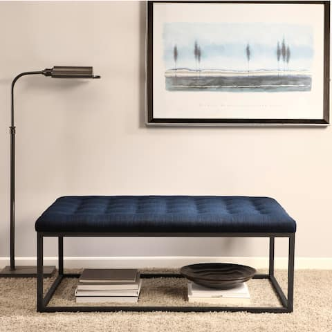 Strick & Bolton Renate Navy Linen Coffee Table Ottoman