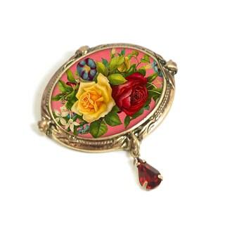 Sweet Romance Vintage Valentine Bouquet Rose Flowers Pin