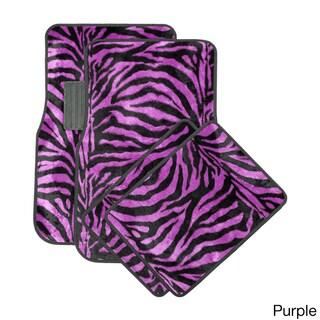Oxgord Wild Tiger/ Zebra Colorful 4-piece Universal Carpet Floor Mats Set (Option: Purple)
