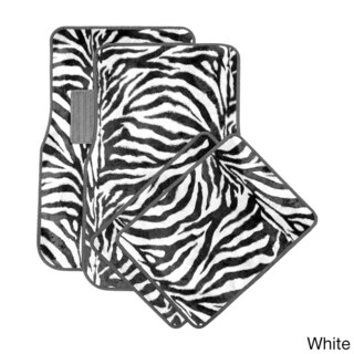 Oxgord Wild Tiger/ Zebra Colorful 4-piece Universal Carpet Floor Mats Set (Option: White)