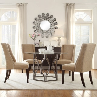 INSPIRE Q Concord 5 Piece Black Nickel Plated Mocha Chenille Dining Set Fre