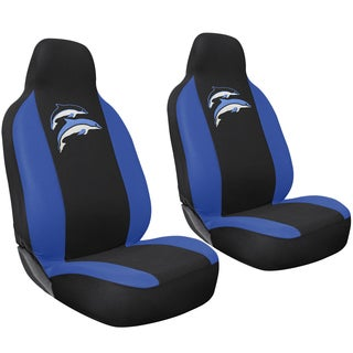 Deep Sea Blue/ Black Dolphin 2-piece Integrated Bucket Seat Cover Set for High Back Sport Seats