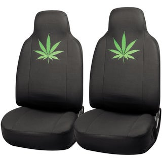 Oxgord Green Leaf High-back Front Chair Seat Covers (Set of 2)