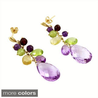 14k Yellow Gold Amethyst, Citrine and Peridot Dangle Earrings