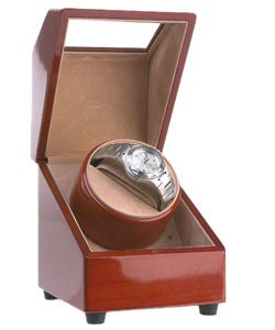 Rocketbox Single Watch Burgundy Finish Winder - Thumbnail 2
