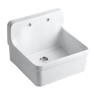 Kohler 'Gilford' White Apron Front Wall Mount Vitreous China 2-hole Kitchen Sink