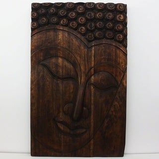Hand-carved 47 x 30 Mocha Oiled 'Serene Buddha' Panel (Thailand)