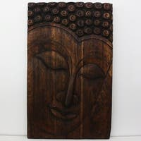 Handmade 47 x 30 Mocha Oiled 'Serene Buddha' Panel (Thailand)