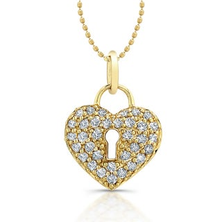Victoria Kay 14k Yellow Gold 1/2ct TDW Diamond Heart Lock Pendant