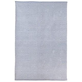 Indo Zen Eventide Blue/ Bright White Cotton Area Rug (5' x 8')