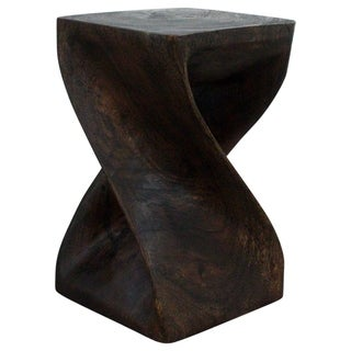 Hand-carved Mocha Oil Acacia Wood Twist Stool (Thailand)