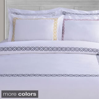 Superior Clayton Embroidered Cotton Sateen Duvet Cover Set