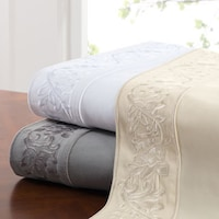 Leaf White Embroidered 400 Thread Count Cotton Sateen Sheet Set