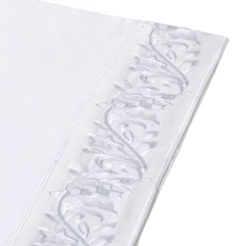 Leaf Embroidered T400 Cotton Sateen Bed Sheet Set