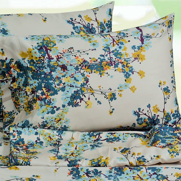 Tribeca Living Casablanca Floral Printed Extra Deep Pocket Sheet Set