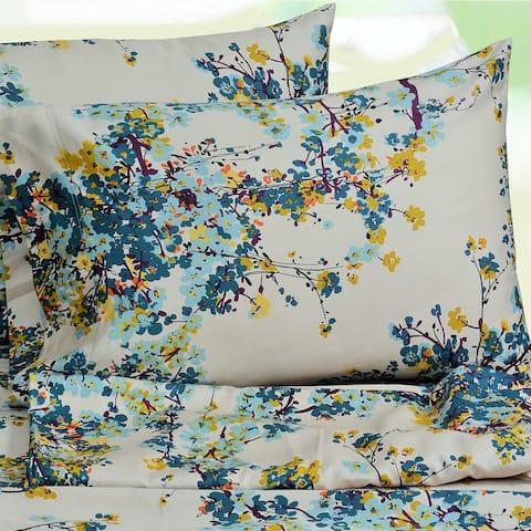 Tribeca Living Casablanca Floral Printed Deep Pocket Bed Sheet Set