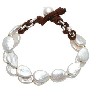 Sunstone Catherine Canino Sterling Silver Freshwater Pearl 2-row Bracelet (10.5 mm)