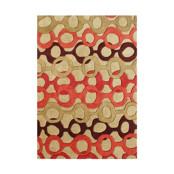 Alliyah Handmade Russet Brown New Zealand Blend Wool Rug - 8' x 10'