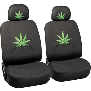 Oxgord Green Cannabis Leaf 6-piece Seat Cover Set