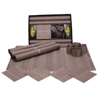 KitchenWorthy 12-piece Basket Weave Table Setting