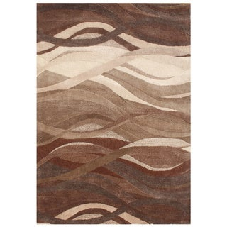 Alliyah Handmade Tobacco Brown New Zealand Blend Wool Rug (5' x 8')