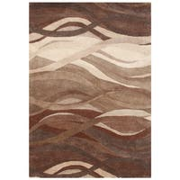 Alliyah Handmade Tobacco Brown New Zealand Blend Wool Rug - 5' x 8'