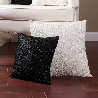 Aurora Home 14 or 18-inch Hand Beaded Decorative Throw Pillow (Set of 2)