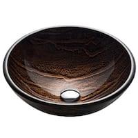 KRAUS GV-398-19mm Nature 17 Inch Round Glass Vessel Bathroom Sink in Brown