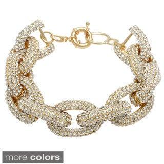 Pave-set Crystal Chain Link Bracelet