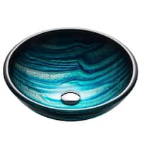 KRAUS GV-399-19mm Nature 17 Inch Round Glass Vessel Bathroom Sink in Blue