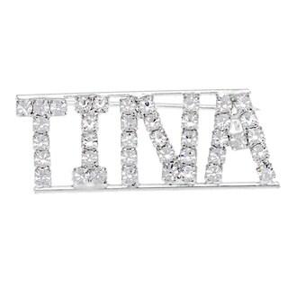 Detti Originals Silver 'TINA' Crystal Name Pin