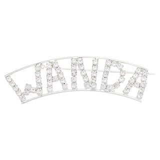 Detti Originals Silver 'WANDA' Crystal Name Pin