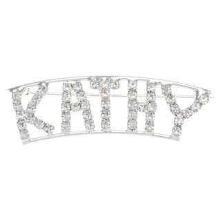 Detti Originals Silver 'KATHY' Crystal Name Pin