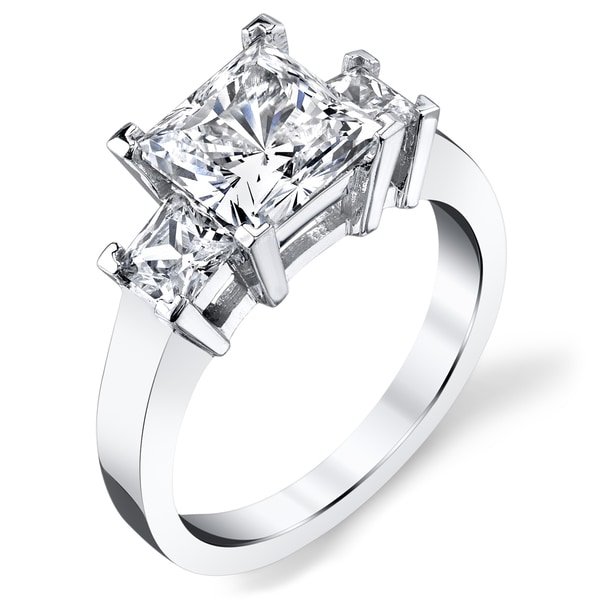 Platinum 2 1/2ct TDW Certified Princess Three stone Diamond Ring (I-J, SI3)