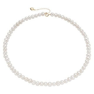 Pearlyta 14k Yellow Gold Children's Cultured Pearl Heart Charm Necklace (4-5mm)