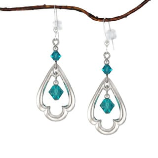 Jewelry by Dawn Rhodium-plated Teal Crystal Scalloped Teardrop Dangle Earrings