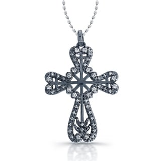 Victoria Kay 14k Blackplated White Gold 1/4ct TDW Diamond Antique Style Cross Pendant (I-J, I1-I2)
