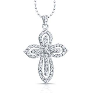 Victoria Kay 14k White Gold 1/3ct TDW White Diamond Cross Pendant