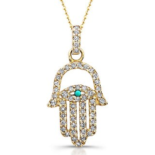 Victoria Kay 14k Yellow Gold 1/4ct TDW Diamond and Turquoise Accent Hamsa Charm Pendant (J-K, I2-I3)