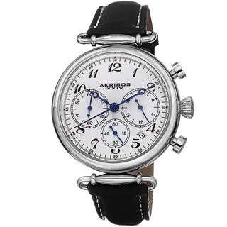 Akribos XXIV Women's Chronograph Leather Black Strap Watch